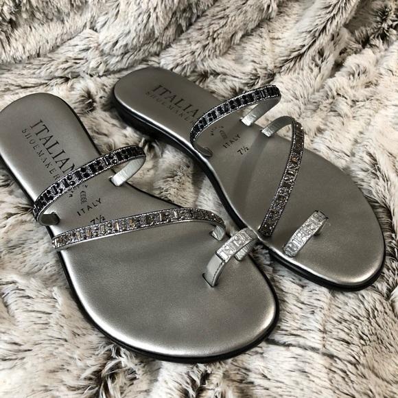 27540cf54e09e Italian Shoemakers Shoes - 🇮🇹 Italian Shoemakers Pewter Rhinestone Sandals